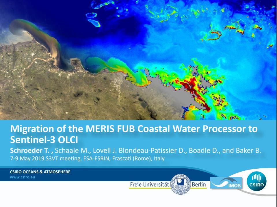 Migration of the MERIS FUB Coastal Water PROCESSOR to sentinel-3 olci - May 2019
