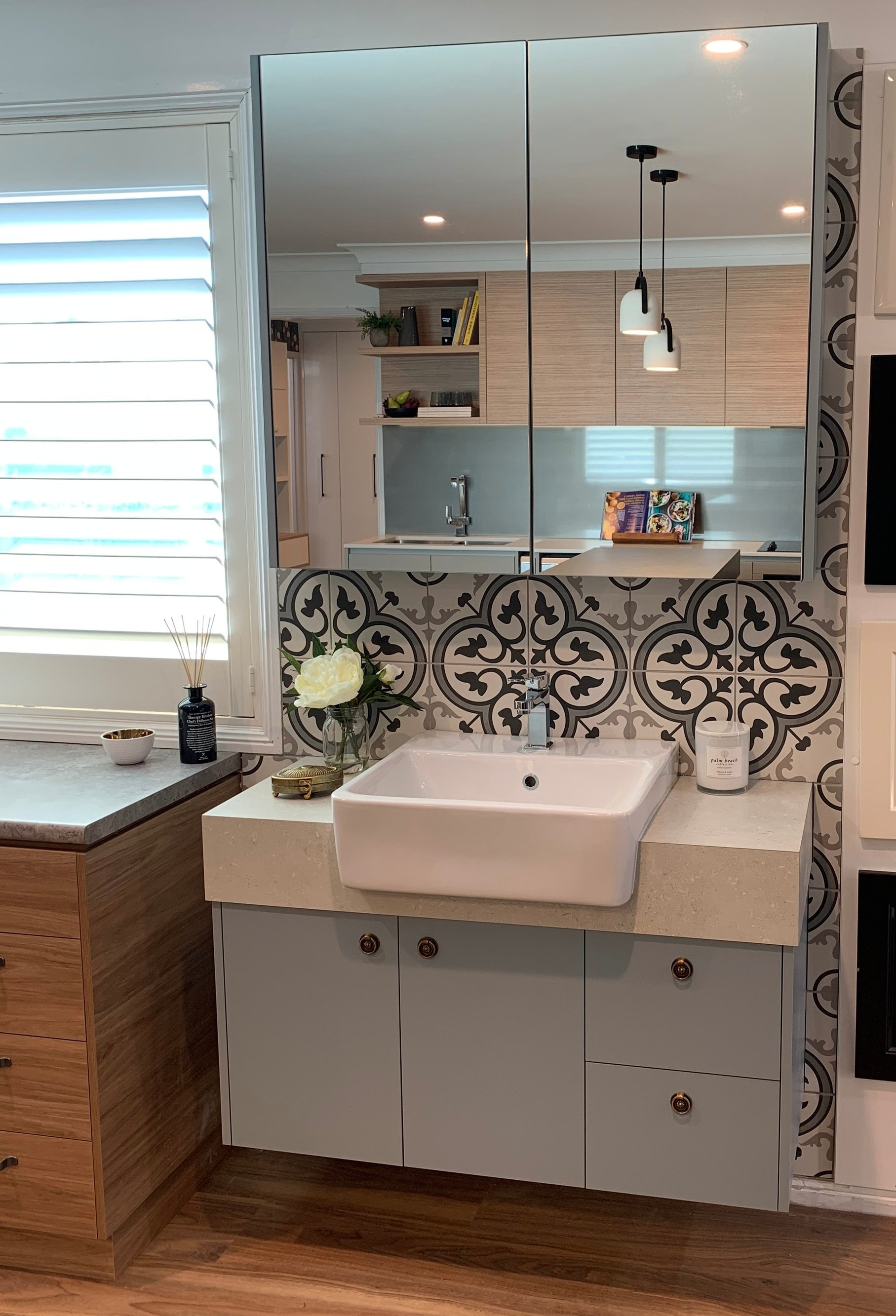 Semi Recessed Vanity - Bench Top: Laminex Abyssian Stone Natural (square edge)Cupboards: Laminex Bluegrass NaturalHandles: Handle House K64 Royale Ring Pulls K64-S