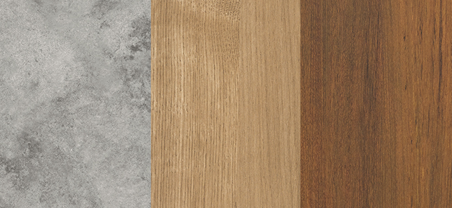 Essastone Luna Concrete, Laminex Planked Urban Oak, Laminex Natural Teak