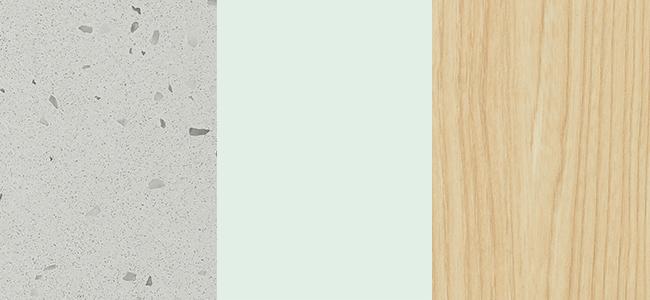 Essastone Terrazino, Laminex Aquamarine, Laminex Natural Ash