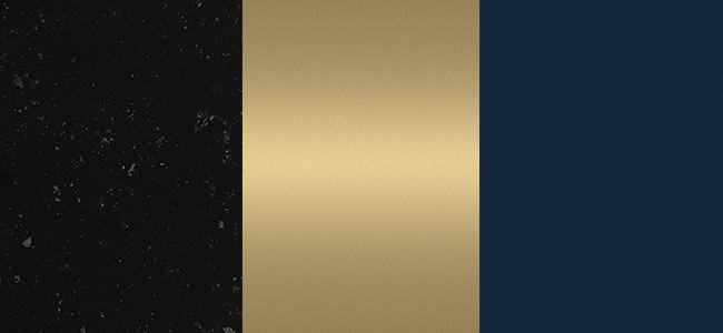 Essastone Lava Black, Laminex Brushed Brass, Laminex French Navy