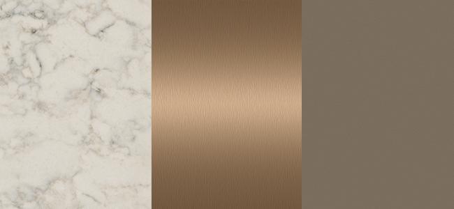 Essastone Marmo Bianco, Laminex Brushed Bronze, Laminex Earth