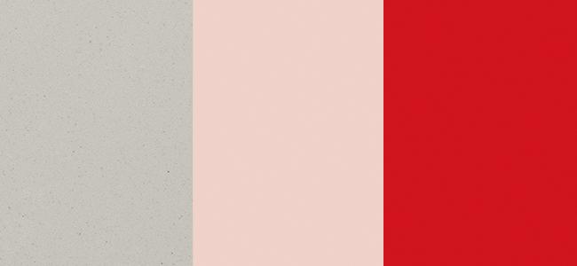 Essastone Ash Concrete, Laminex Just Rose, Laminex Pillarbox