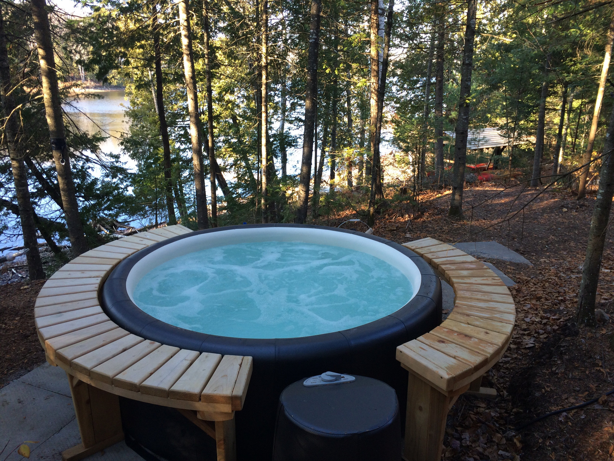 Take a Dip in Our Lakeside Hot Tub