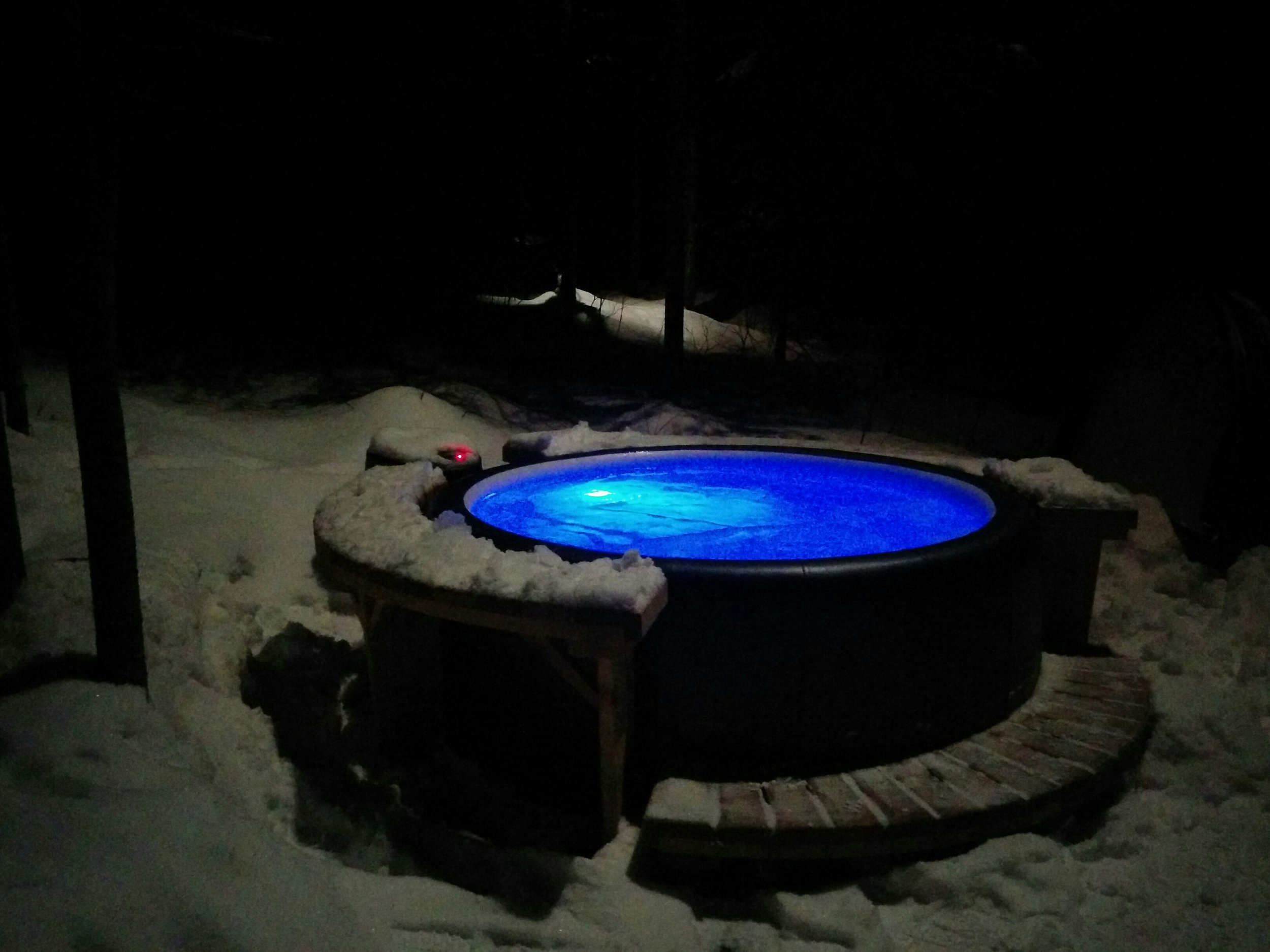 The Blue Glow of a Winter Hot Tub