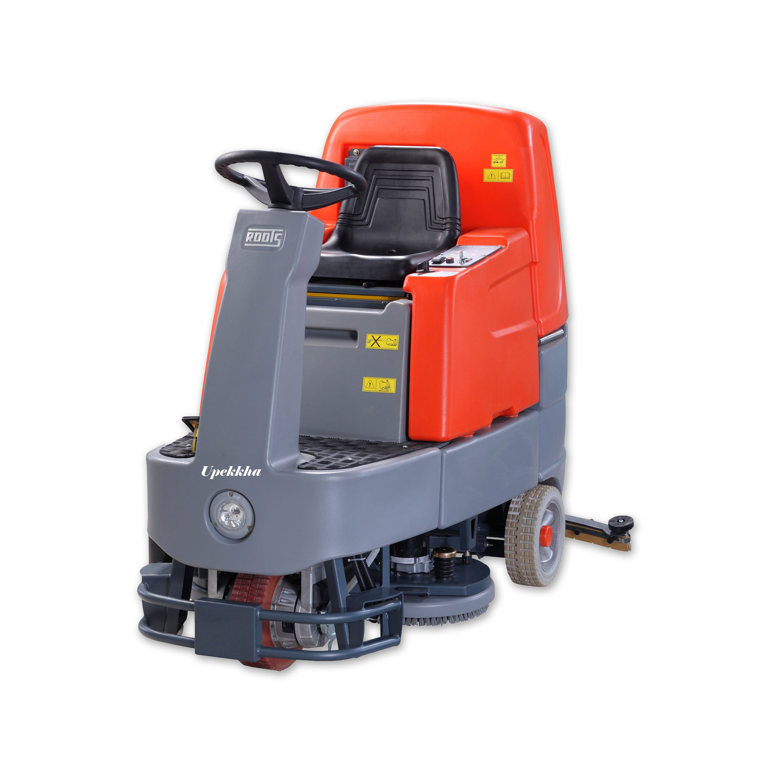 Upekkha™ RootsScrub RB800   Upekkha RootsScrub RB 800 is a battery operated ride on scrubber drier that has the ability to clean up to 4,800 sq meters/hour. Compact in design and he operator wields absolute manoeuvrability!