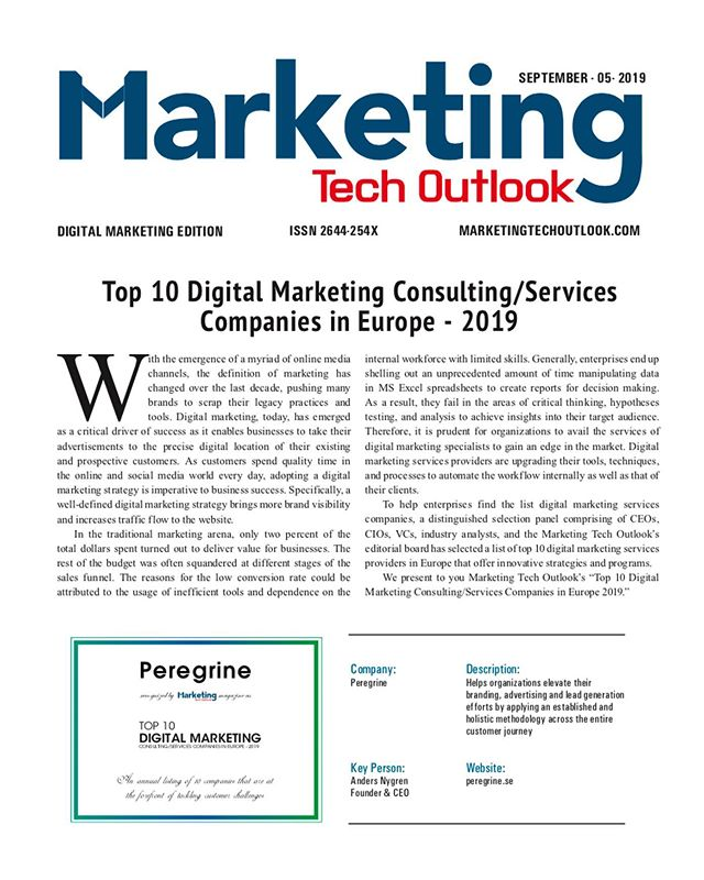 We are very proud to announce that we are listed among the Top 10 Digital Marketing Consulting/Services Companies in Europe 2019 by the magazine Marketing Tech Outlook.  Head over to our blog and read about what our CEO Anders says about staying competitive in today's competitive business landscape.  #marketingtransformation #agilemarketing #digitalmarketing #marketingtechnology
