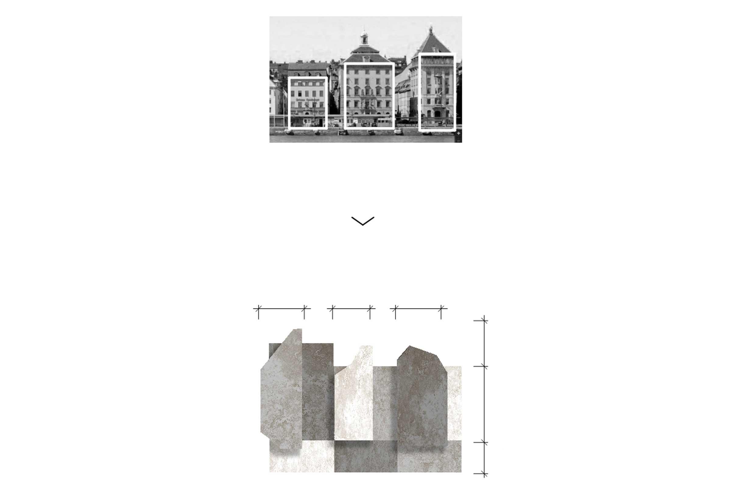 Södra Värtahamnen.  Taklandskap som stärker indelningen av fasader.