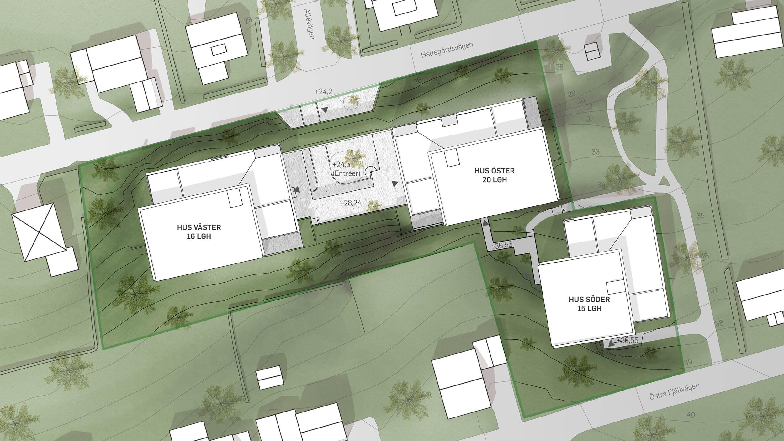 Bockemosse.   Projektet ligger inbäddat i grönska och villabebyggelse.