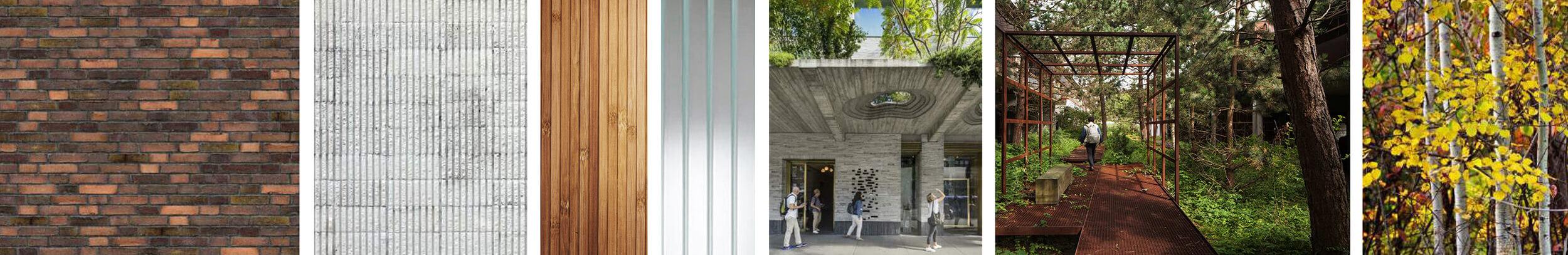 Textur . Tegel, trä och rillad betong med kulörer som samsas med naturen.