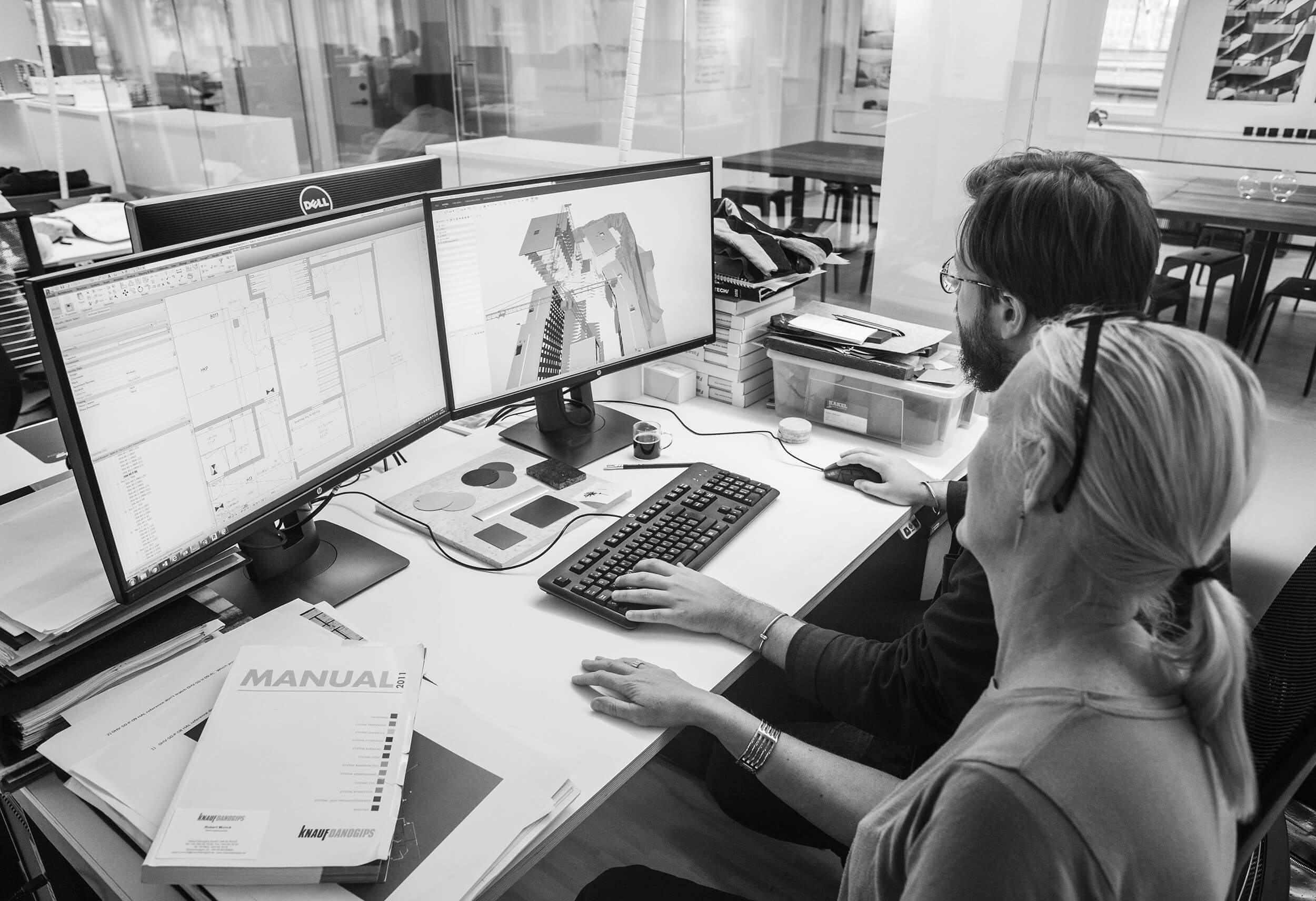 BIM i slutskedet.  Ansvarig arkitekt Johanna Pålstedt arbetar tillsammans med arkitekten Tobias Lidman på projekt Baltic i Annedal.