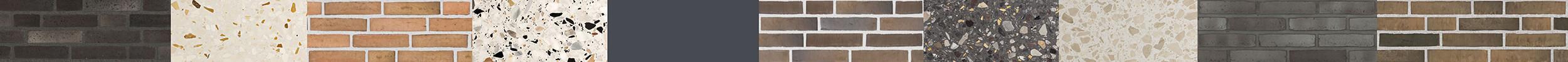 Fasadernas tegeltoner tas upp inne i respektive hus genom att t ex trapphusens terrazzokulörer harmonierar med dessa. Fönster, partier och plåt har en mörkgrå kulör, gemensam för alla 3 husen. Den blyertsgrå färgen som är anpassad till fasadernas tegelkulörer, bidrar till att binda ihop husen.