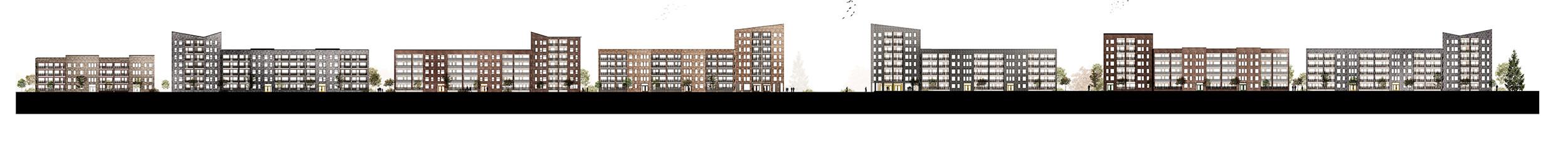 koncept.  Sektion som visar den nya Långströmsgatan.