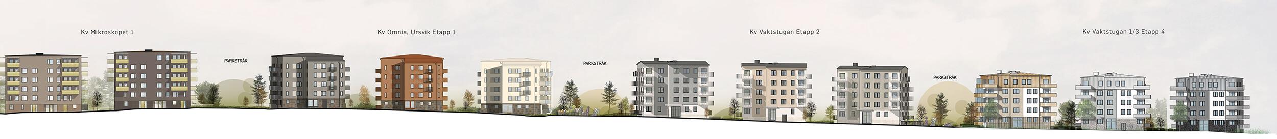 Gatuelevation.  Gestaltningen förstärker kvarterets identitet men stämmer väl med de tidigare etapper som Lindberg Stenberg har ritat i området. Arkitekturen respekterar områdets givna omständigheter, till exempel den branta terrängen.