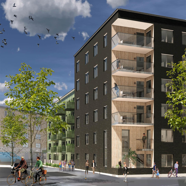 Stadsgatans hörnhus med utskuret hörn och etagelägenhet - Stadsgatan avslutas med en kub av mörkt tegel där hörnet mot en lokalgata skurits ut för balkonger och klätts med ljust trä. Nedersta våningen accentueras med en lägenhet i två våningar.