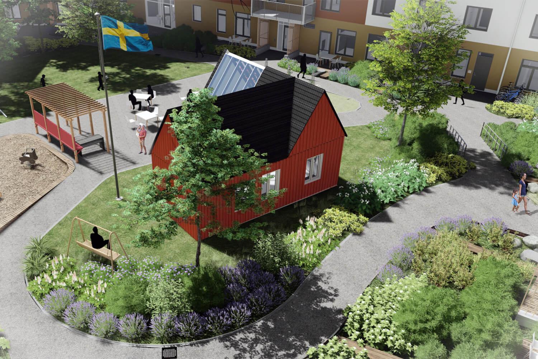 möts och Odla i torpet - Gården är Ryttarstugans trädgård. Promenera bland bärbuskar, fruktträd och blomsterrabatter längs grusade gångar. Flytta trädgårdsmöblerna till solen. I torpet finns gemensamhetslokal och växthus