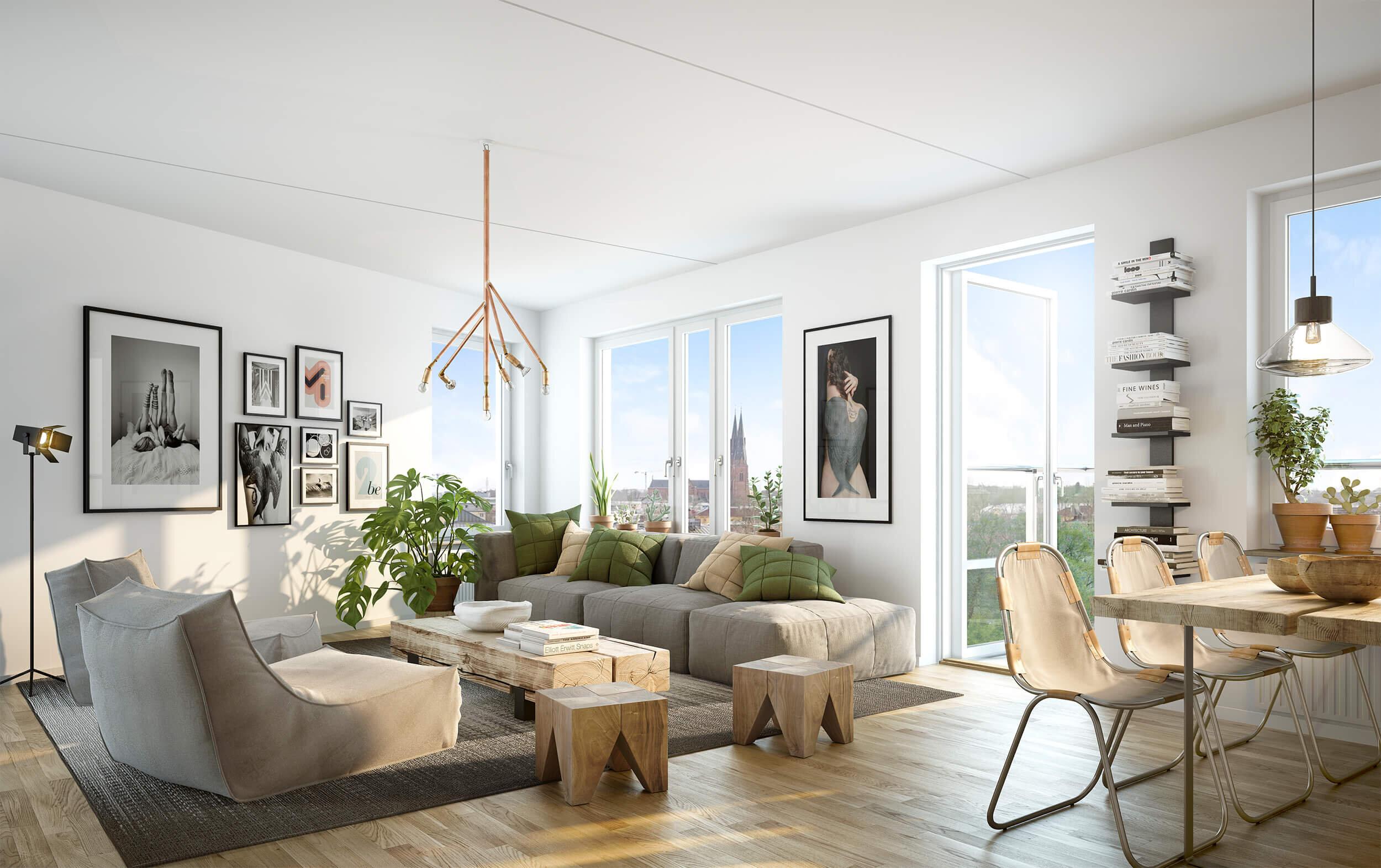 VEckade fasader ger dynamiska rum - Den veckade fasaden skapar intressanta inslag i lägenheterna. Köket och vardagsrummen får en särskild rumslighet och dynamik. Vid varje veckning blir kontakten med grannen närmare, medan övriga knappt märks av. För att öka känslan av rymd och friare rörelse har även många av de mindre lägenheterna rundgång.