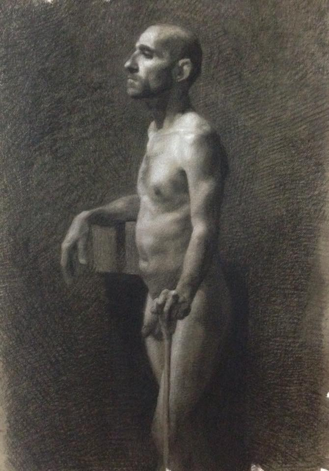 Charcoal and white chalk, Man with stick. 25x20 inch.jpg