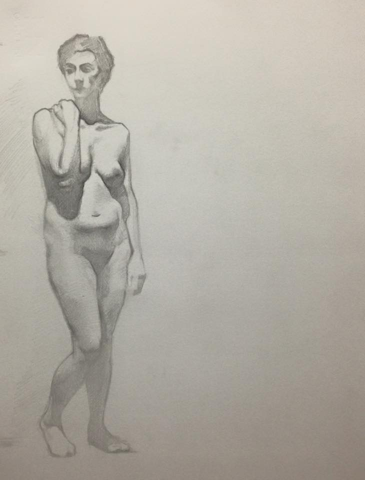 Pencil, Nude gazing. 8x10 inch.jpg