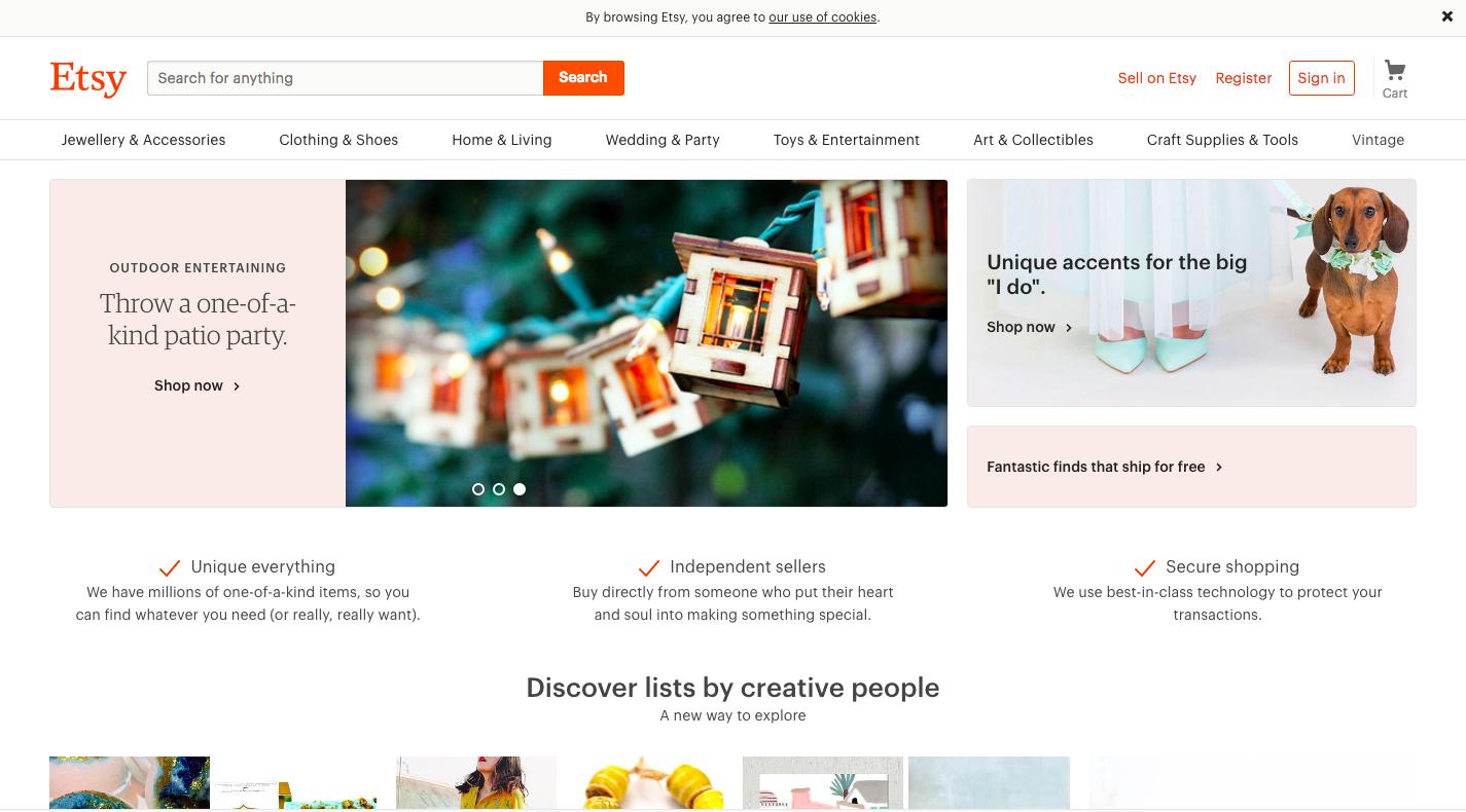 Etsy website homepage