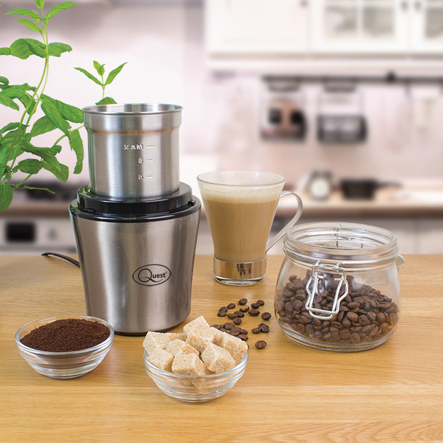 Wet & Dry Grinder - Grind & blend wet or dry ingredients with one touch! The Quest grinder easily makes pastes, dips, ground nuts, breadcrumbs and spices with minimal effort.