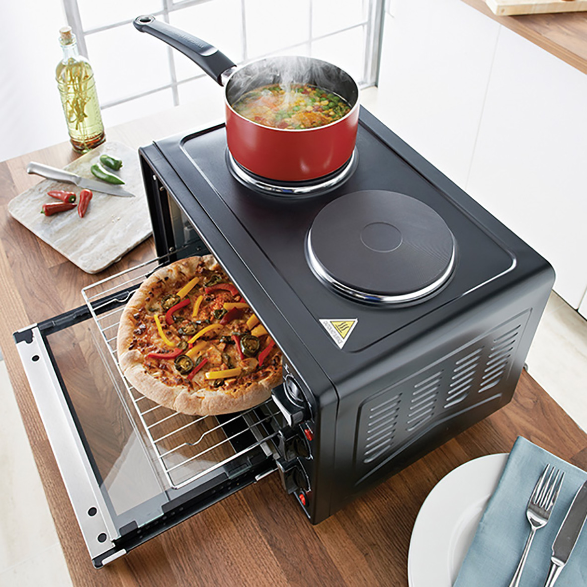 Twin Hob Convection Oven - Compact space saving solution, grill & rotisserie function with oven and twin hobs options for all round cooking.