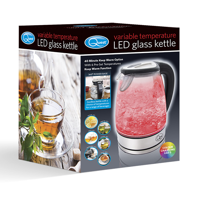 Variable Temperature LED Glass Kettle box