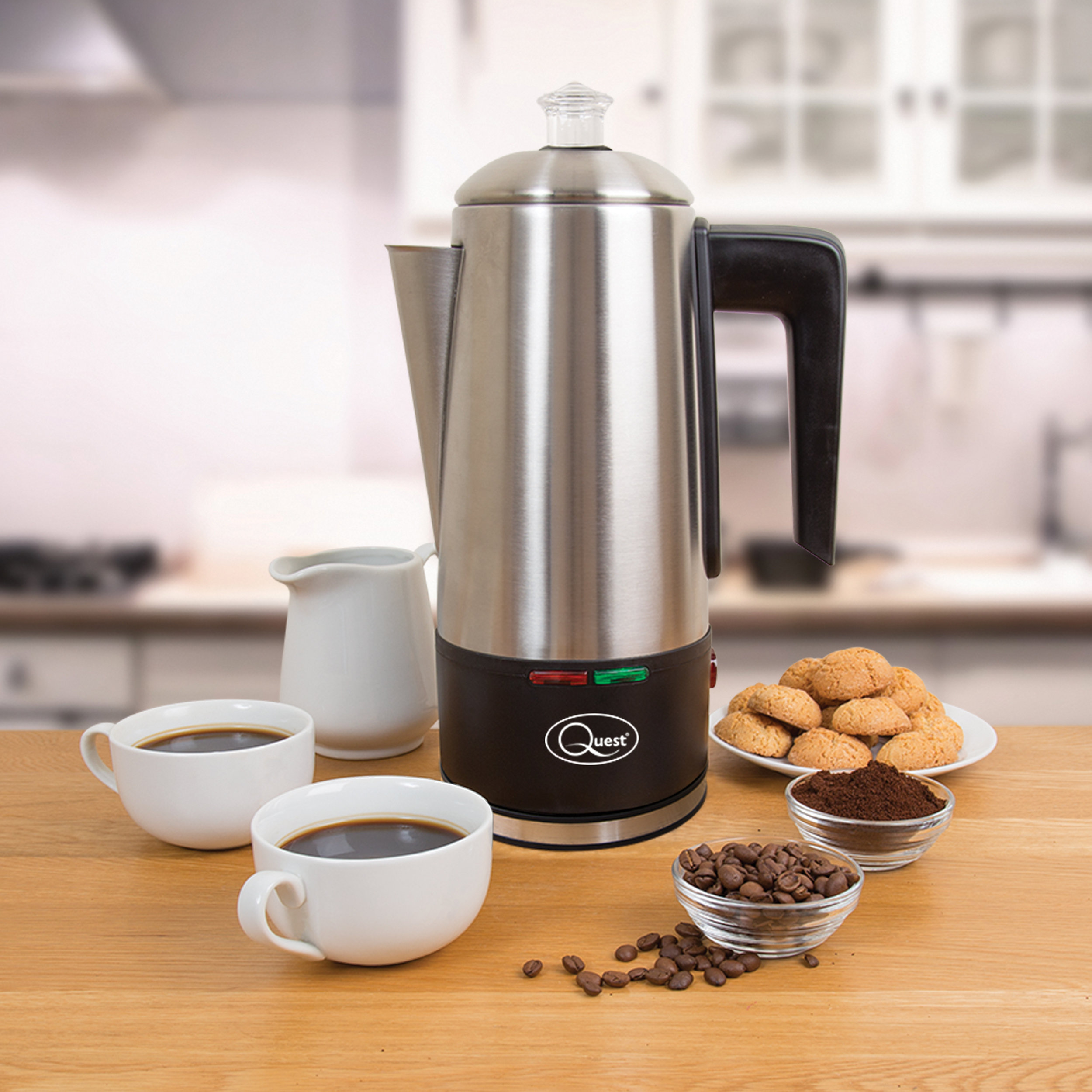 1.5L Electric Coffee Percolator in the kitchen with coffee cups