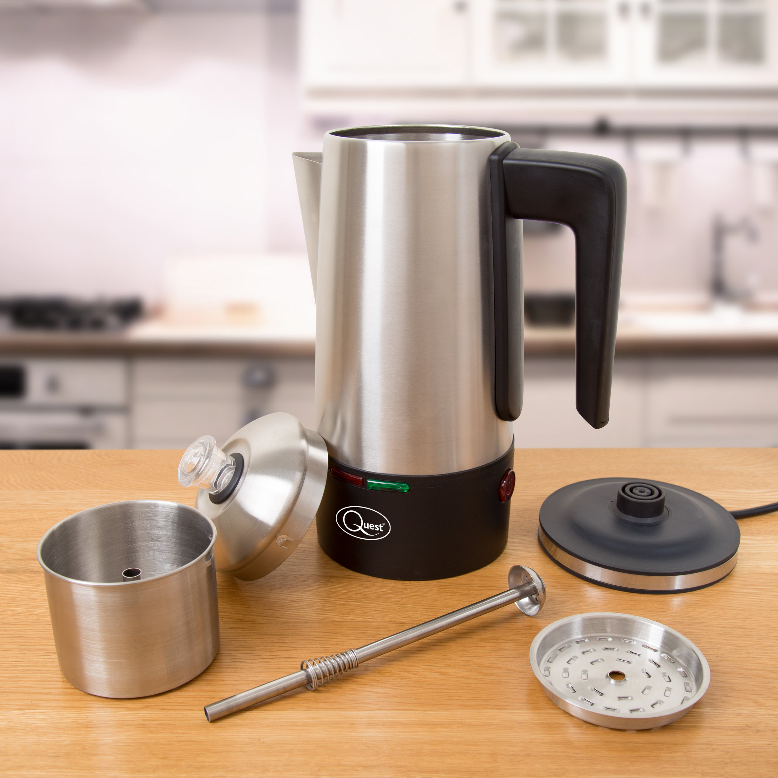 All pieces for a 1.5L Electric Coffee Percolator (dismounted)