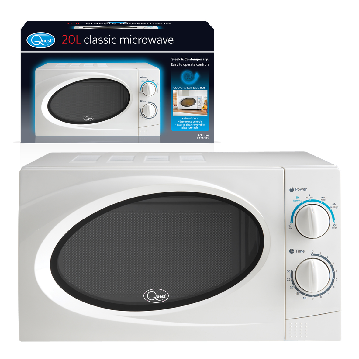 White 20L Classic Microwave and box