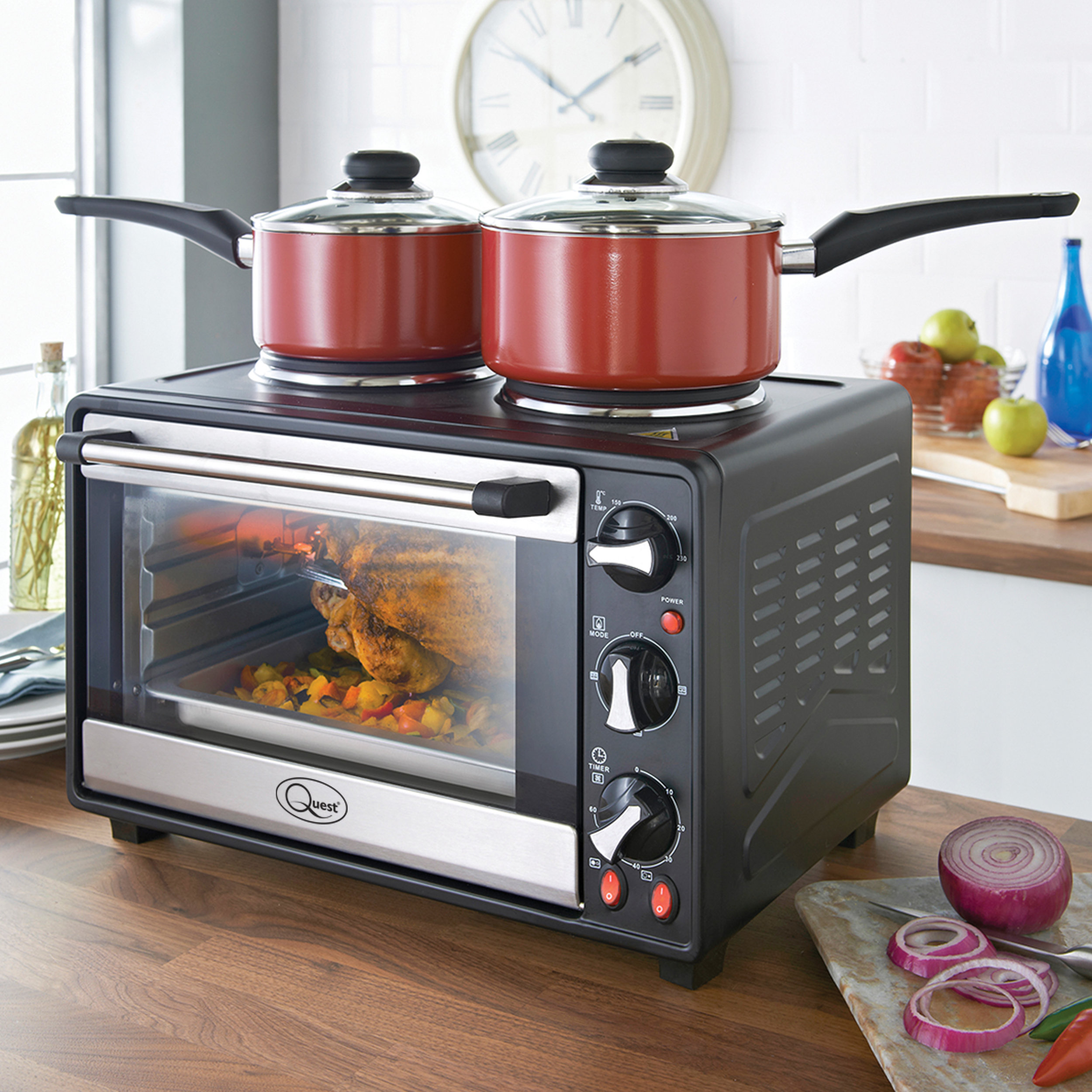 Twin Hob Convection Oven in the kitchen with two hobs