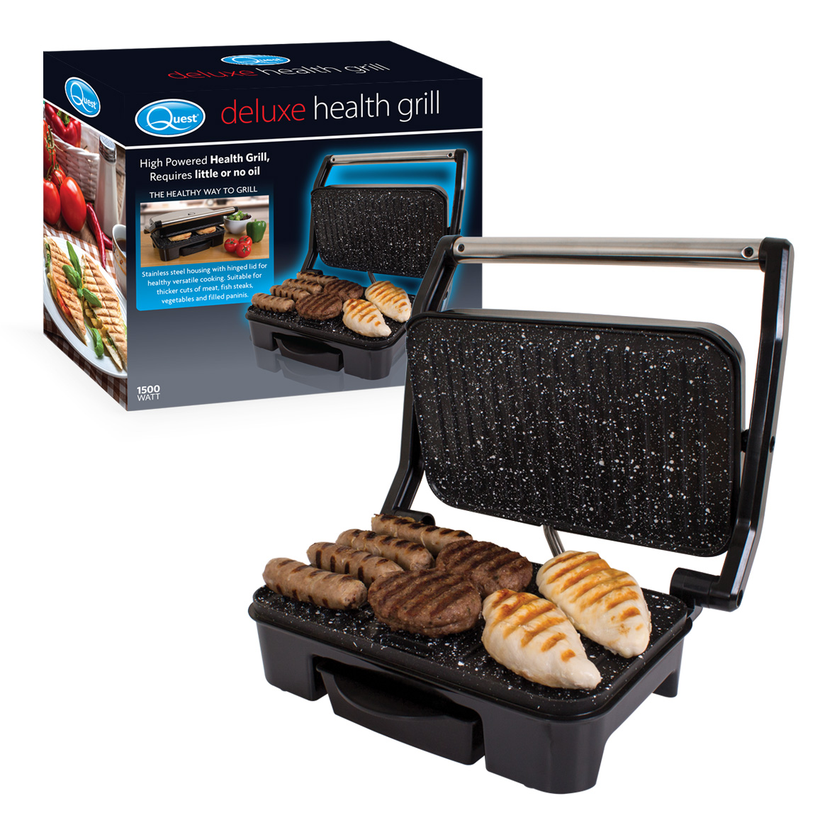 Deluxe Health Grill and box