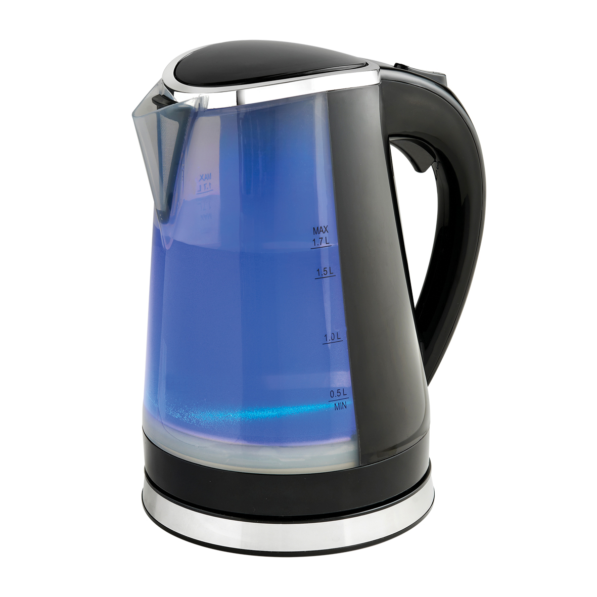 Black Dual LED Illuminated Kettle Blue