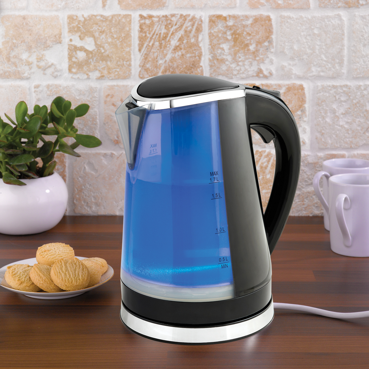 Dual LED Illuminated Kettle blue in the kitchen