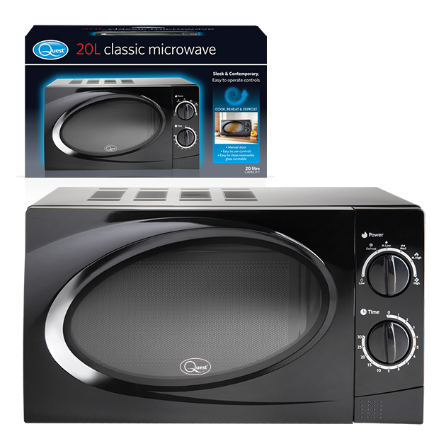Black 20L Classic Microwave and box