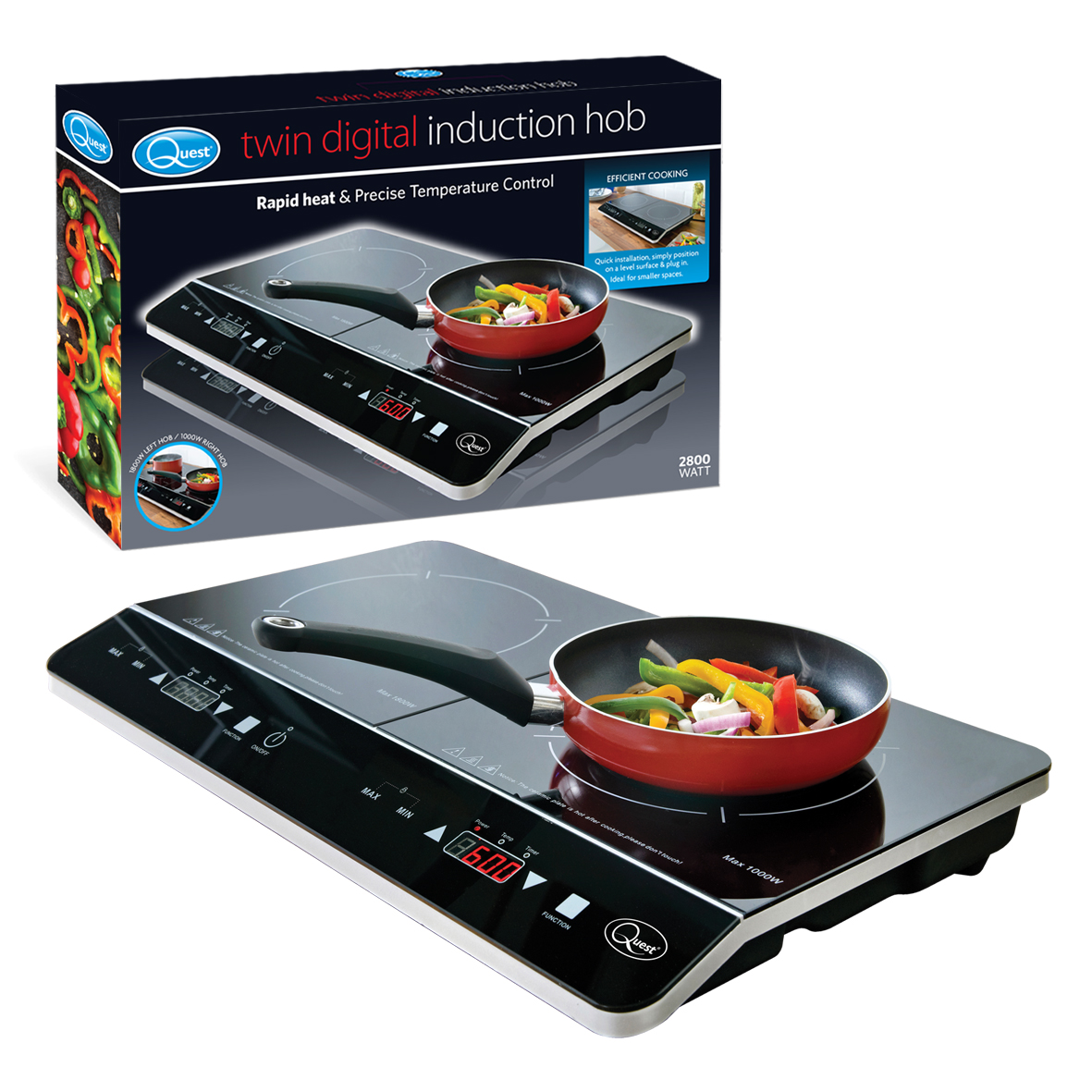 Double Digital Induction Hob and box