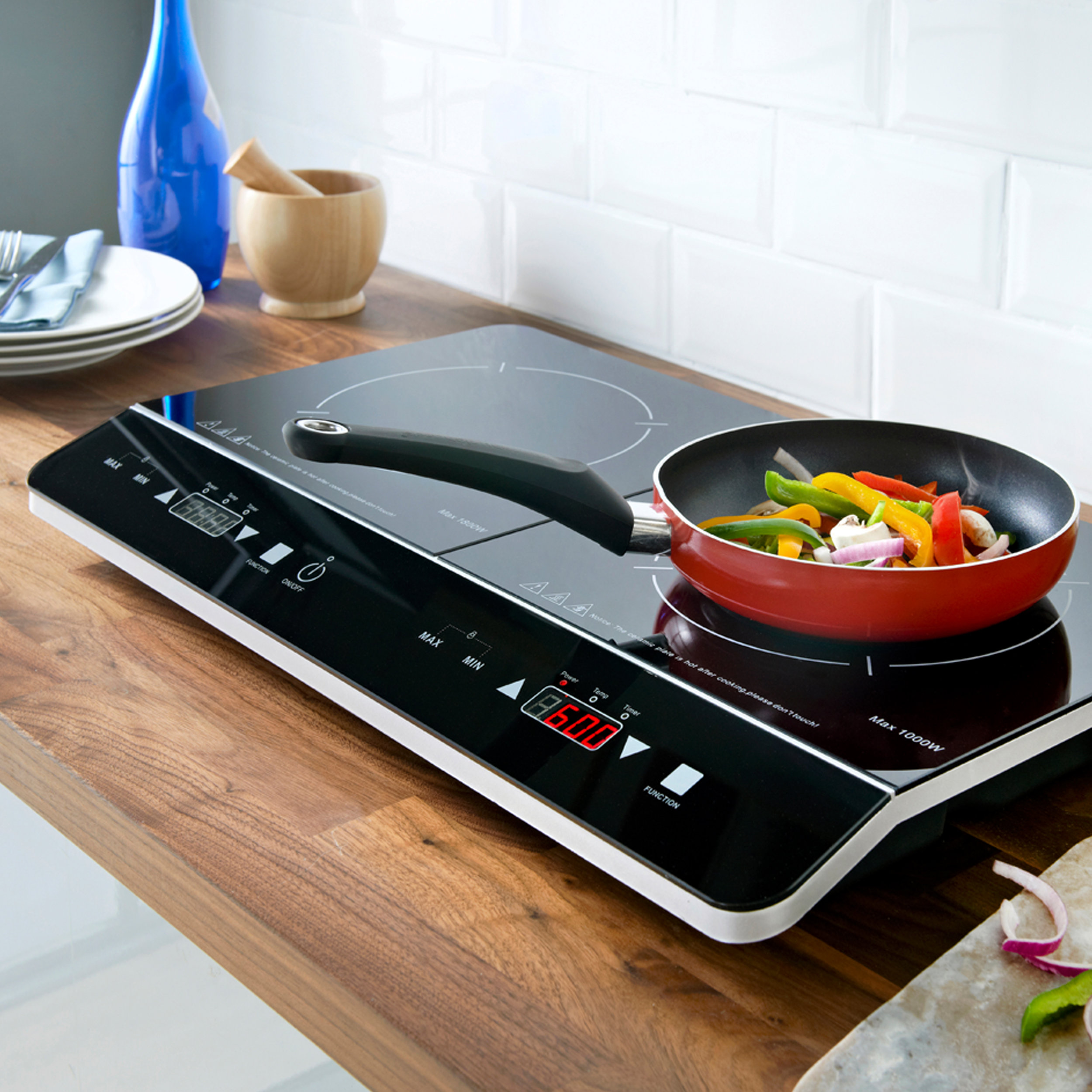 Double Digital Induction Hob cooking vegetables