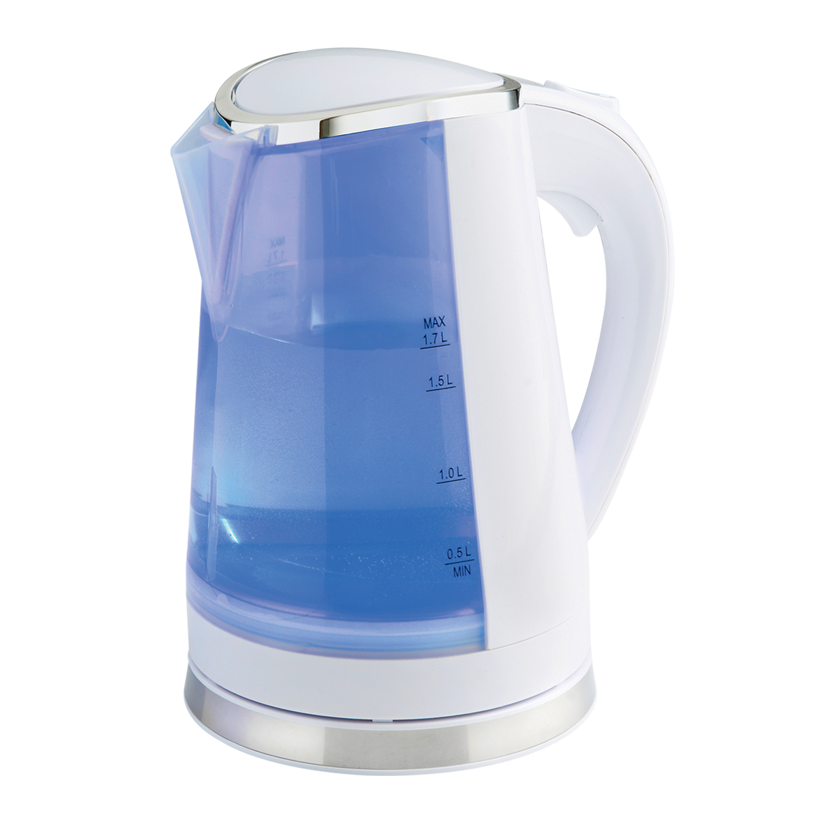 White Dual LED Illuminated Kettle Blue