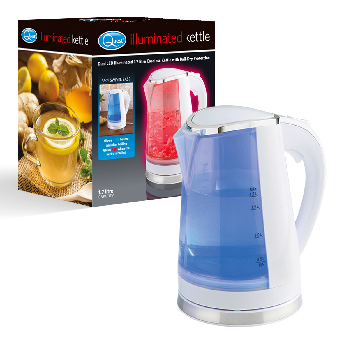 Black Dual LED Illuminated Kettle and box (white)