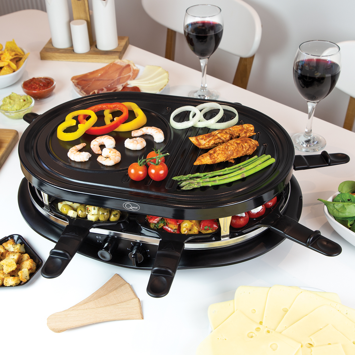Raclette Grill - The Quest Raclette Grill is designed for sharing. Ideal for an informal family meal or relaxed dinner parties. Guests can prepare their own meal and choose from a range of vegetables, fish, meat and melted cheese to create their own delicious meal.