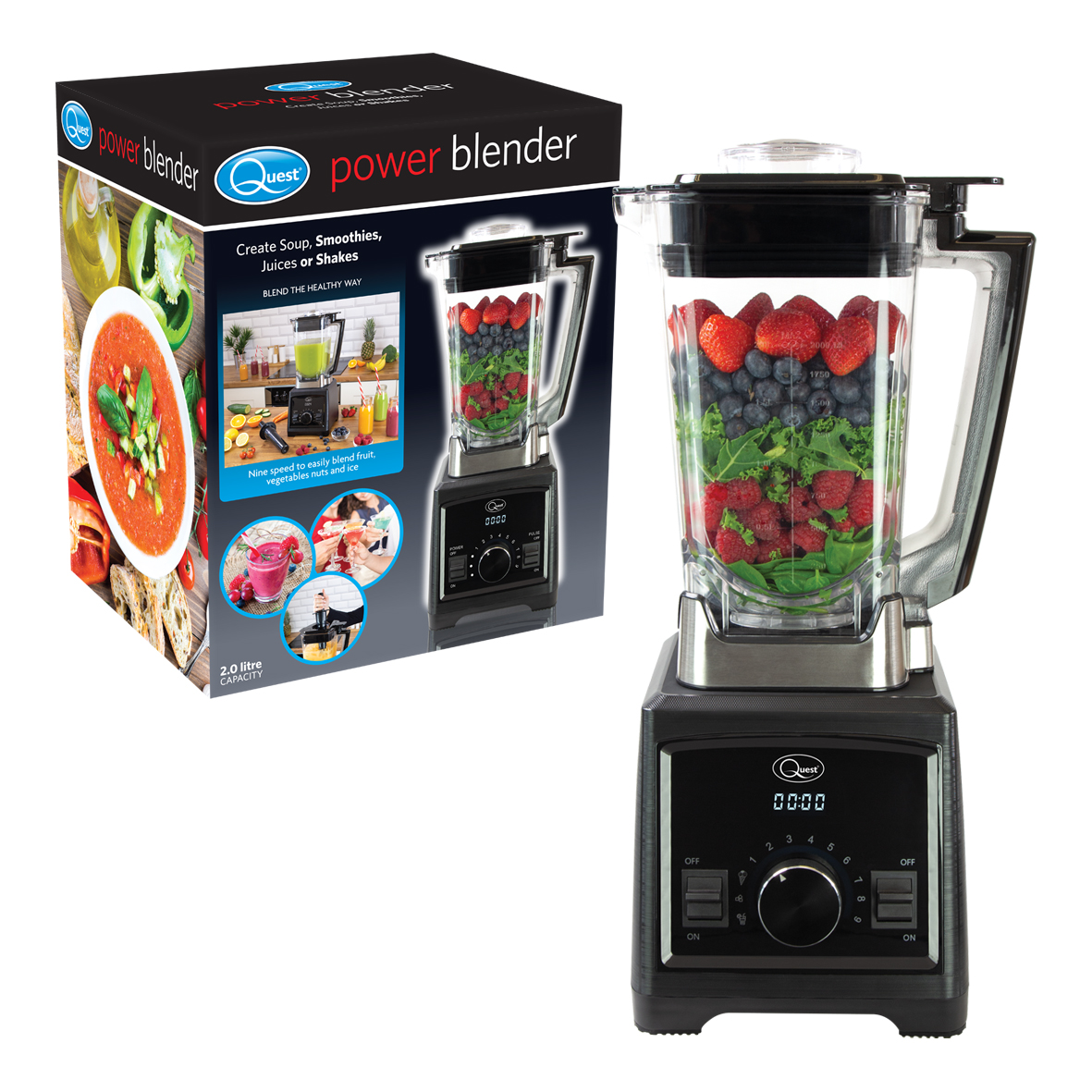 2Litre Heavy Duty Power Blender - Professional level high powered blender, perfect for batch preparing soups and sauces, and making smoothies, juices, shakes.