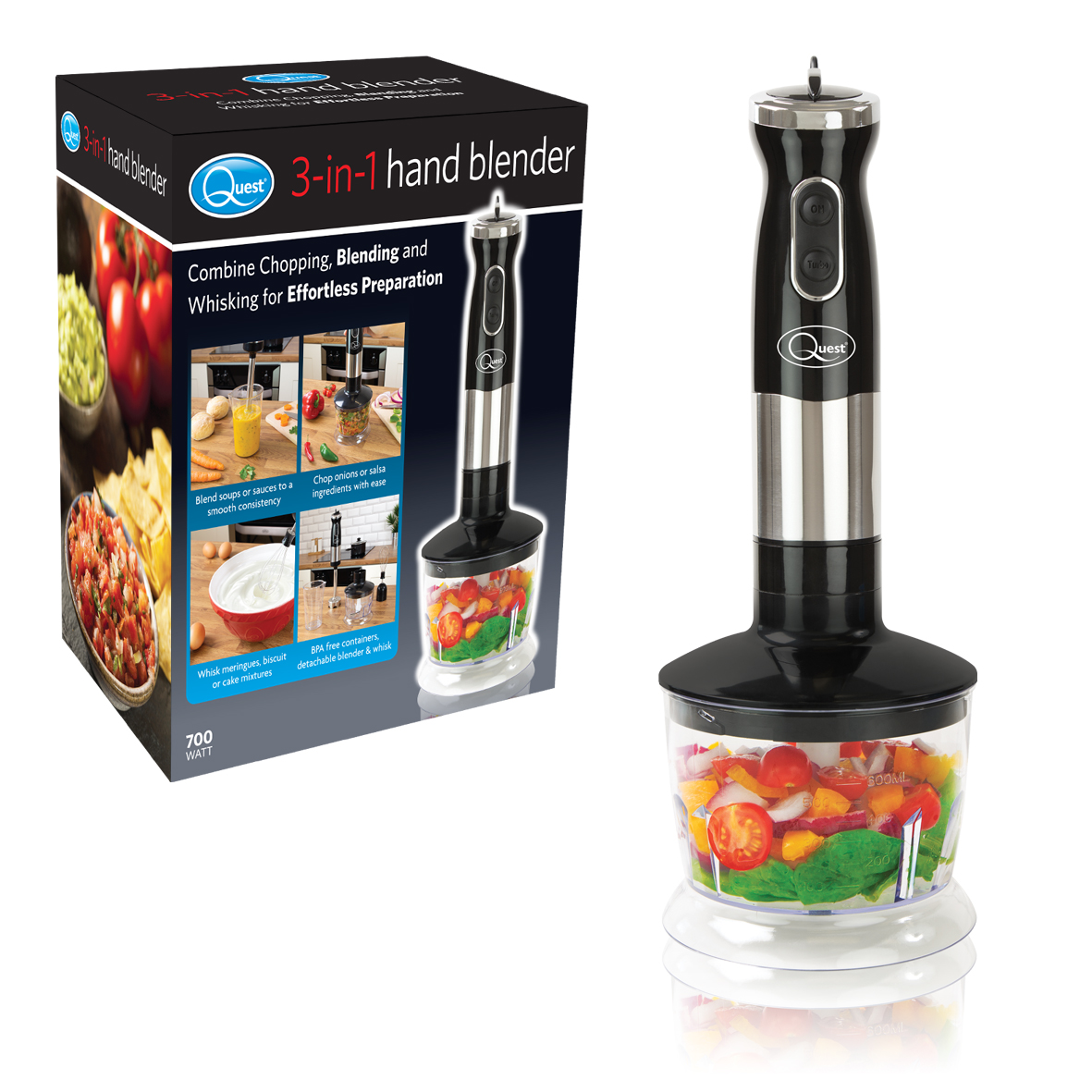 3-in-1 Hand Blender - Combines Chopping, Blending and Whisking. Simply choose the speed you require, including turbo pulse, to blend soups to a smooth consistency, chop ingredients with ease and whisking meringues and cake mixtures.