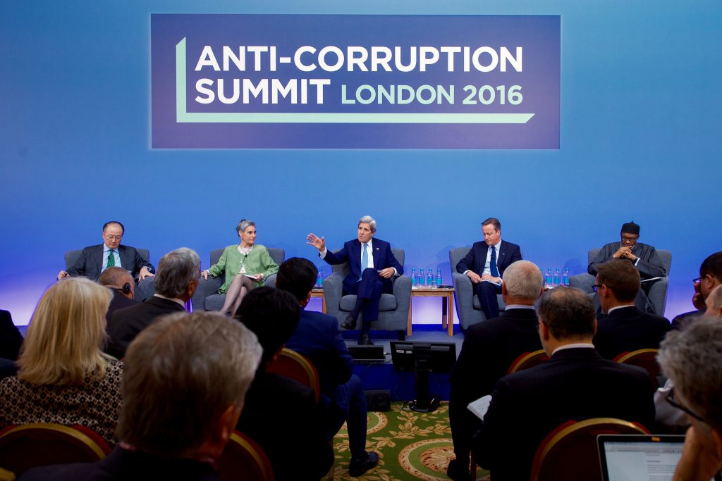 US Secretary of State John Kerry joins British Prime Minister David Cameron at the Anti-Corruption Summit