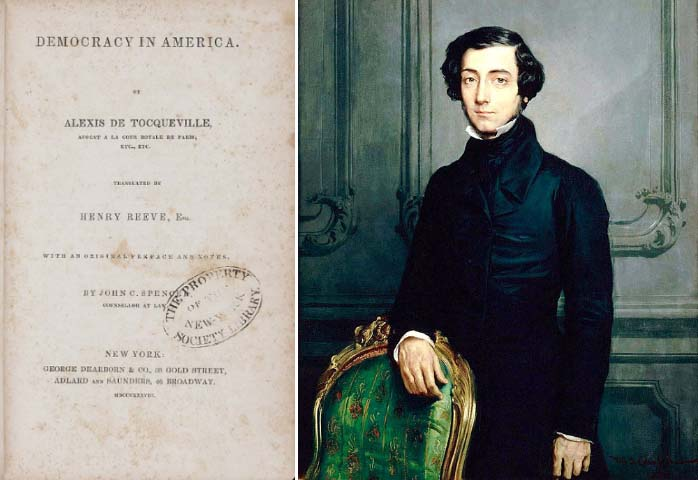 The title page of Democracy In America, and an 1850 portrait of Alexis de Tocqueville (Source: Wikipedia Commons)