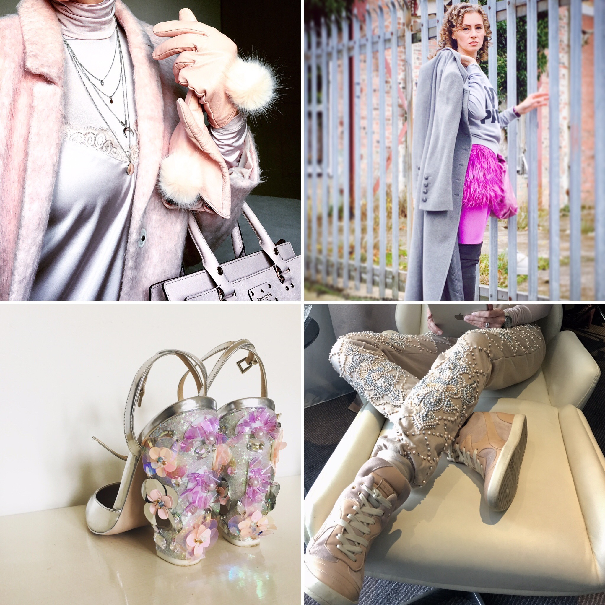 Unicorn chic ~ clockwise from top: Playing with blush-coloured textures; Feathers with fitness gear; Whimsical floral heels; Beaded joggers with kicks