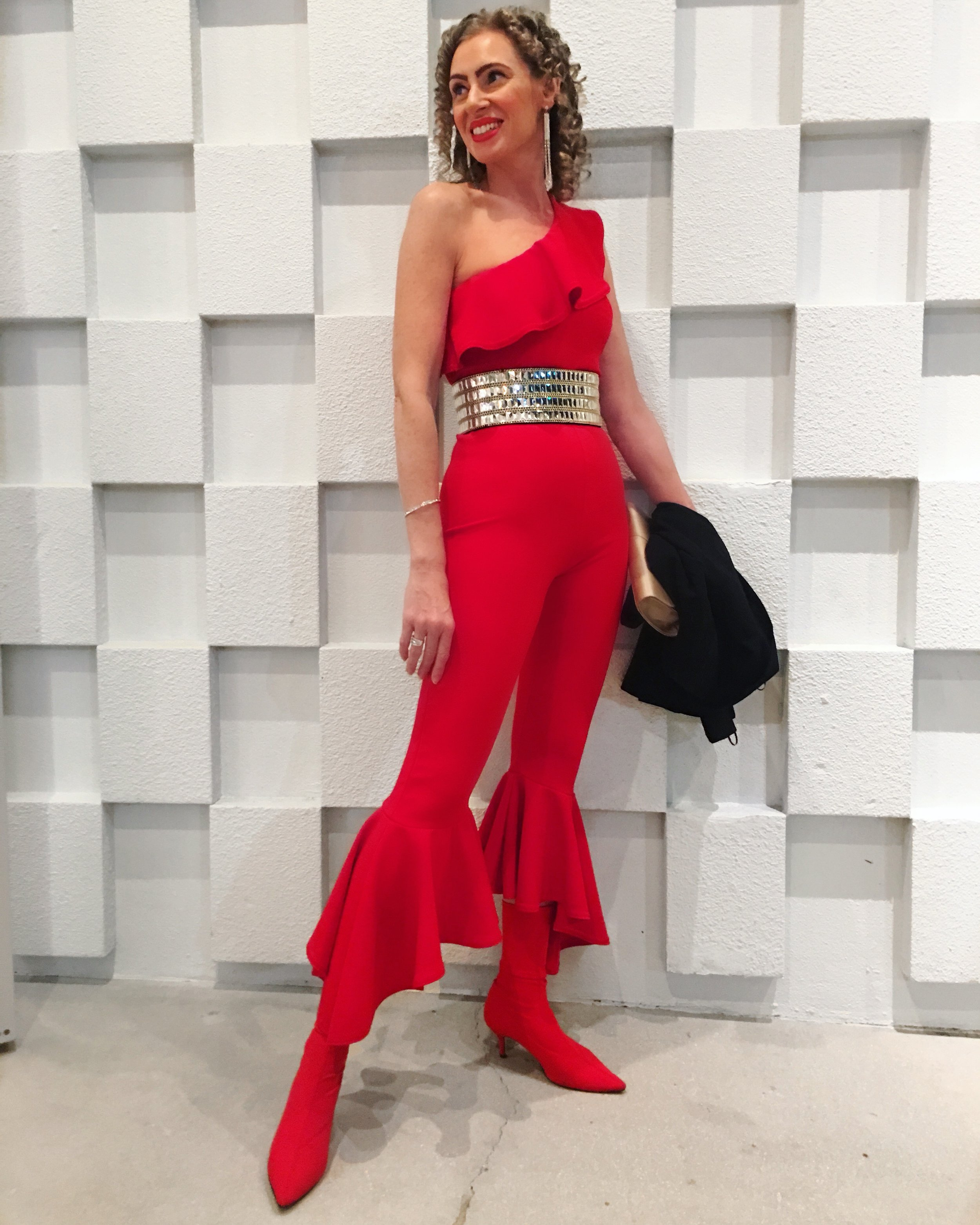 One-shoulder jumpsuit and belt by Pretty Little Thing with Zara Boots at Shore, St Armand's