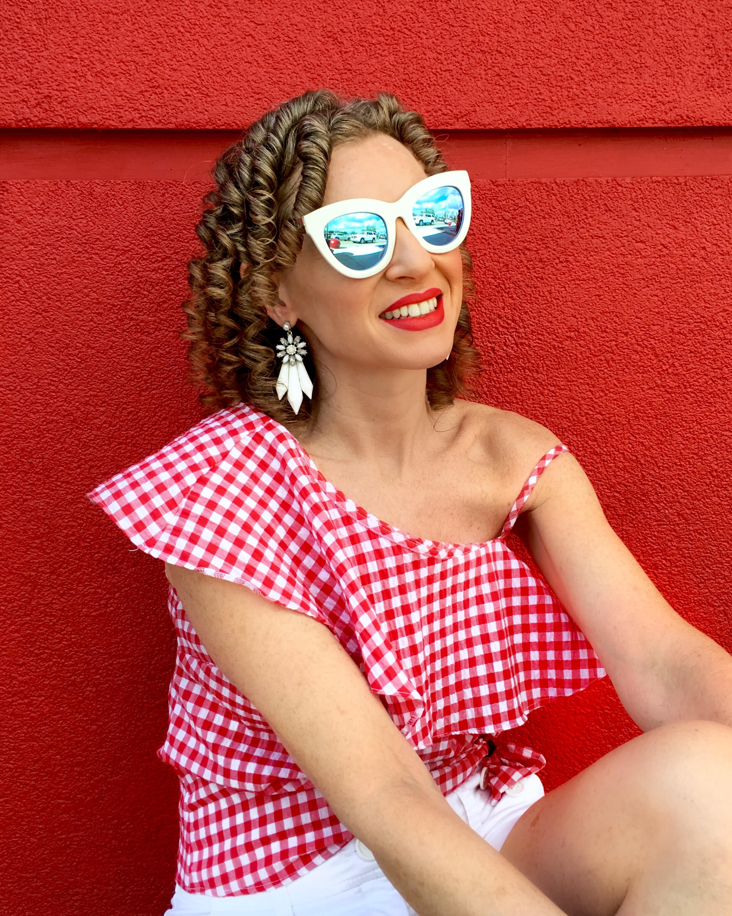 Gingham top by New Look with H&M earrings and shorts and Quay Australia eyewear, shopping at University Town Centre