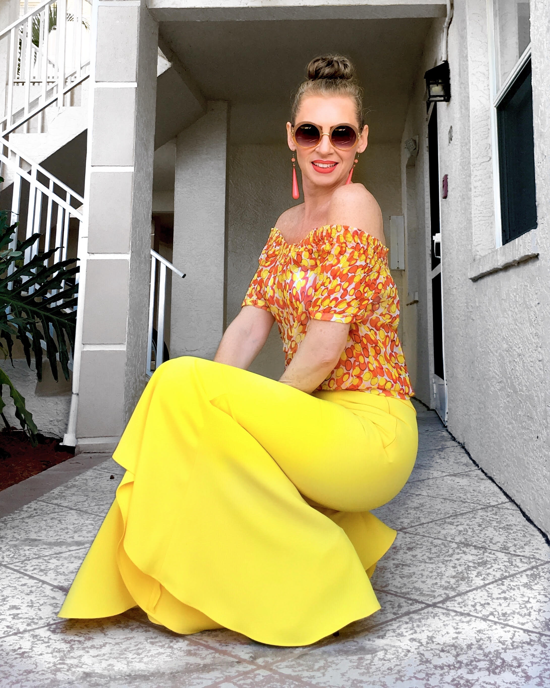 Zara flares and OTS top with Topshop frames, off to brunch in Bradenton