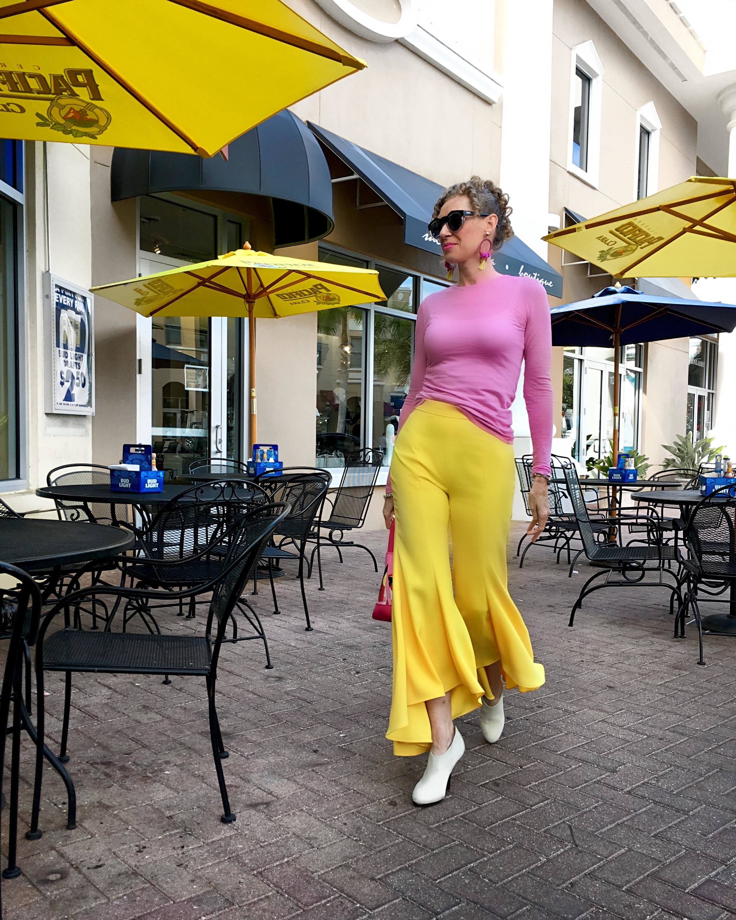 Zara flares and Cos sweater, shopping in Main St, Lakewood Ranch