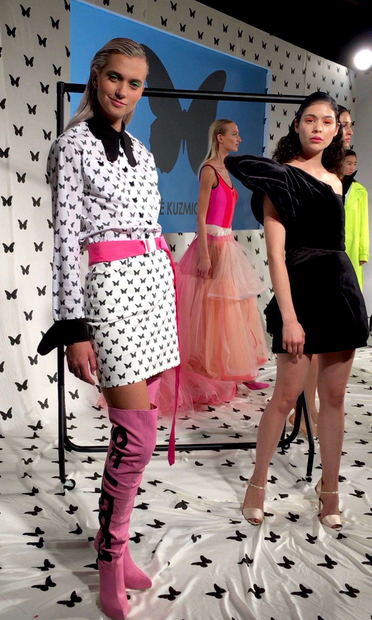 "agne kuzimickaite - Neon pops in shades of fluoro-pink and -yellow lifted this broadly black and white collection and added a fun, 80s aesthetic that was echoed in the a-symmetric and strapless LBDs.Logo-love is clearly going strong into SS19. And the ""Where's Waldo"" game was just an added bonus!"
